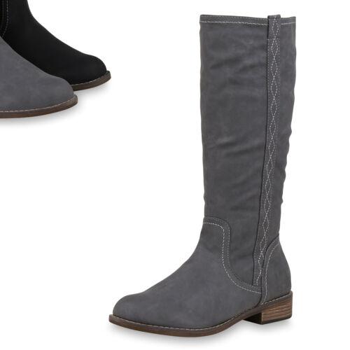 Klassische Damen Stiefel Schuhe Boots Wildleder-Optik 820252 Top