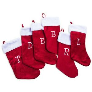 Image Is Loading Red Personalized Monogrammed Letters Christmas Stockings Plush Clic