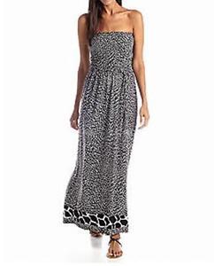 44b51bd59cd Details about Anne Klein Black White Multi Animal Print Strapless Maxi  Dress Size S
