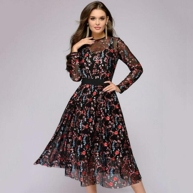 Women Retro Tunic Long Sleeve Floral Embroidery Bodycon Dresses Vintage Dress