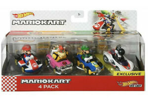 Hot-Wheels-Mario-Kart-1-64-escala-Diecast-Juguete-Set-4-Pack