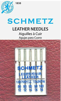 Schmetz 1838 Leather Sewing Machine Needles 130/705H-LL 15x1 Assorted Size