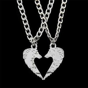 2PC Wolf Animals Silver Plated Pendants Necklaces Best Friends BFF Couples Lover