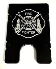 Billet Vault Aluminum Wallet RFID protection black anodized, Fire Fighter