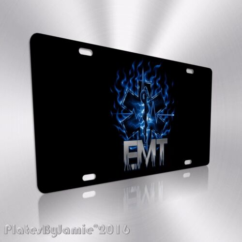 EMT EMS Fire and Rescue Staff of Life HD Image on Aluminum License Plate Tag New