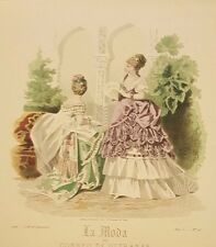 Spanish Fashion - LA MODA Del Correo De Ultramar - Two (2) Ladies in Garden 1873