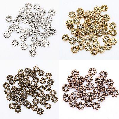 200pcs Tibetan Silver Daisy Spacer Beads h2995