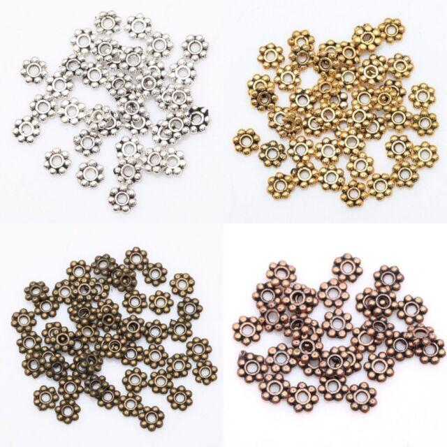 Wholesale 400 pcs Tibetan Silver/Golden/Bronze Daisy Spacer Beads Findings 4mm