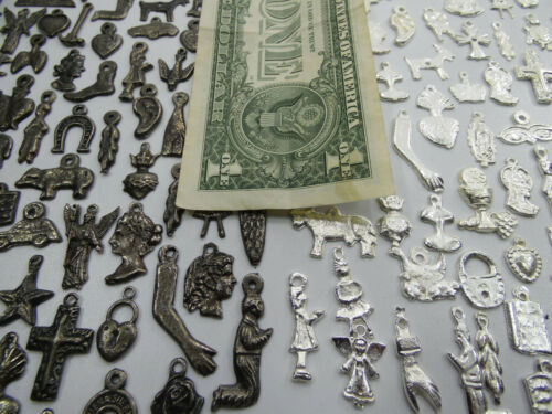 mexican folk art charms 500 MILAGROS black and silver color wholesale 1 POUND