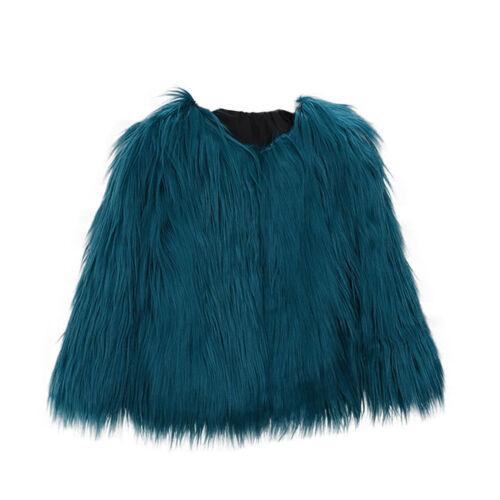 Toddler Kids Baby Girl Faux Fur Jacket Warm Thick Fur Denim Coat Winter Outwear