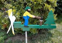 Wood Chopper Man Wooden Hand Painted Whirligig Mounting Pole Hcc..42....-chopper