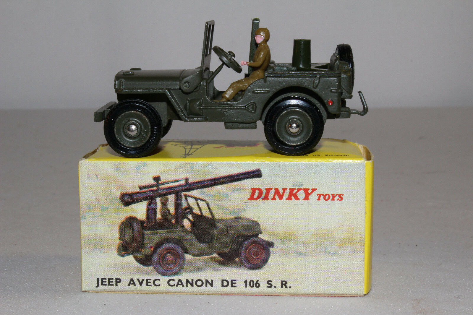 Années 1960 French Dinky  829 Jeep avec monté  Cannon, Nice avec boîte d'origine, lot 4  vous rendre satisfait