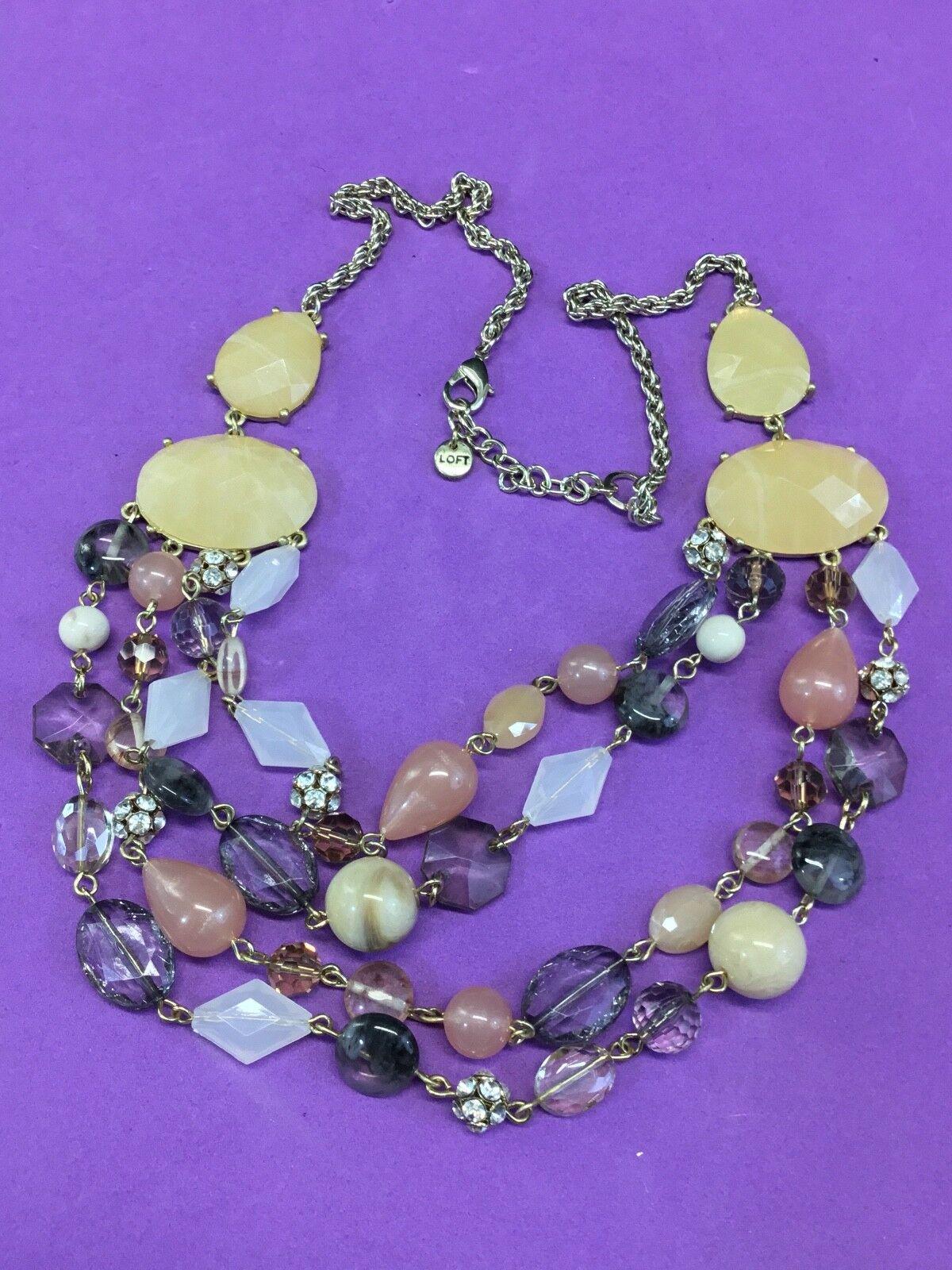 Ann Taylor LOFT Mixed Stone and Ribbon Long Multi Strand MIXED CHUNKY Necklace