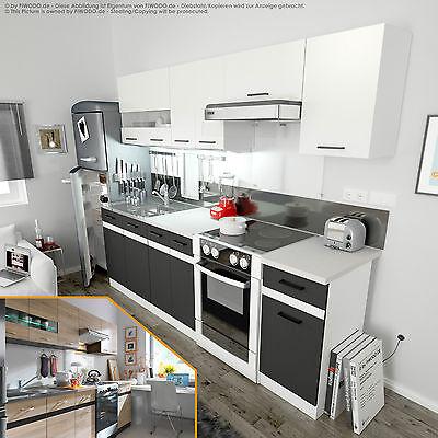 Küche 240cm - in 4 Farben - Einbauküche Küchenzeile schnell, günstig & preiswert
