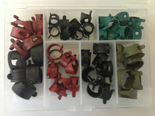 Pontiac 54x Assorted Vacuum Fuel Hose Pinch Spring Clamp Kit Clamps Clips NOS