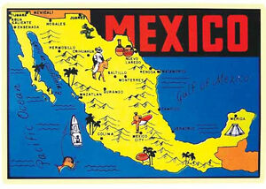 Mexico Map Vintage 1950 S Style Travel Decal Yucatan Tijuana Cancun