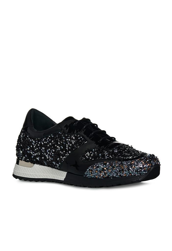 NWT NIB La Perla Black Metallic Embellished Sneakers Shoes sz 41 $490