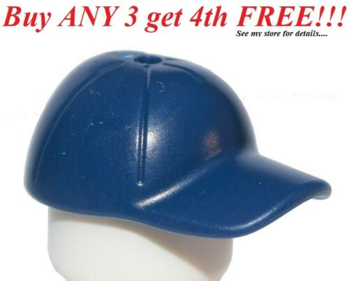 ☀️NEW Lego City Minifig Dark Blue Hat Short Curved Bill w// Seams /& Hole on Top