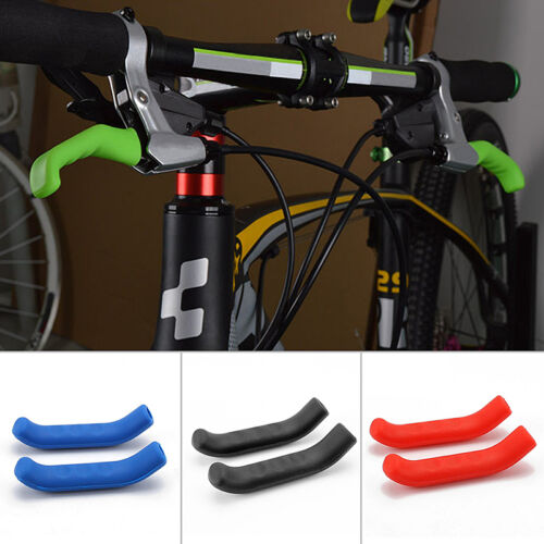 2X Mountain Bike Bicycle Handle Bar Grip Brake Lever Silicone Cover Protector LK