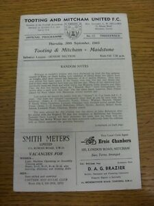 30-09-1965-Tooting-And-Mitcham-United-v-Maidstone-United-Four-Pages-Light-Mar