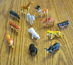 "6 NEW ZOO ANIMALS 2"" TOY PLAYSET WILD JUNGLE GORILLA ZEBRA TIGER LION SAFARI"