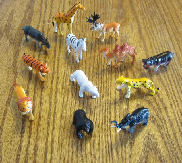 "3 NEW ZOO ANIMALS 2"" TOY PLAYSET WILD JUNGLE GORILLA ZEBRA TIGER LION SAFARI"