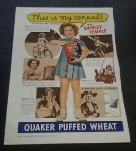 Shirley-Temple-Vintage-1937-Magazine-add-Quaker-Puffed-Wheat-11-5-X-8