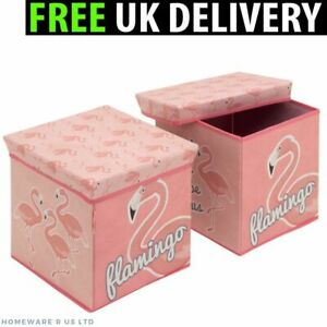 PINK FLAMINGO BEDROOM ACCESSORIES STORAGE STOOL TOY BOX CUBE CHESTS OTTOMAN   EBay