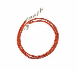 Orange-Zircon-Gemstone-3mm-Rondelle-Faceted-Beads-12-45-034-Strand-Beaded-Necklace