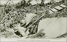 World War 1 Military: French Soldier, Rifle, Dugout Shelter. Oise Front. B&W.