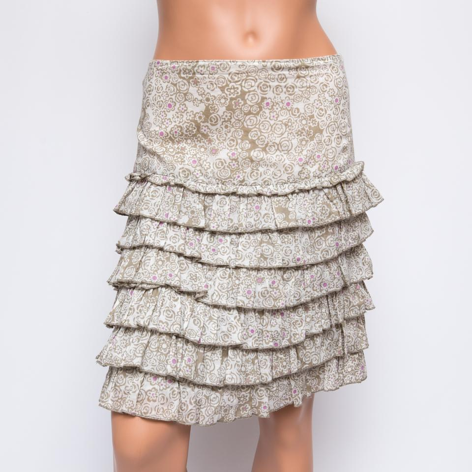 Anna Sui for Anthropologie Floral Tiered Cotton Skirt US0  330
