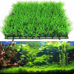 Breebing Grass Artificial Aquarium Green Plant Lawn Fish Tank Landscape Guppy