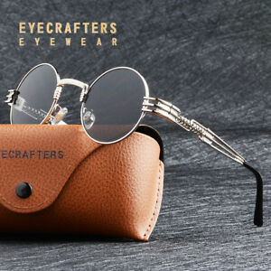 8a52b1d695 Image is loading Retro-Metal-Vintage-Gothic-Steampunk-Sunglasses-Round-See-