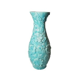 "Vintage Large Pottery 18"" Aqua Butterfly Jardiniere Vase Planter Turquoise Blue"