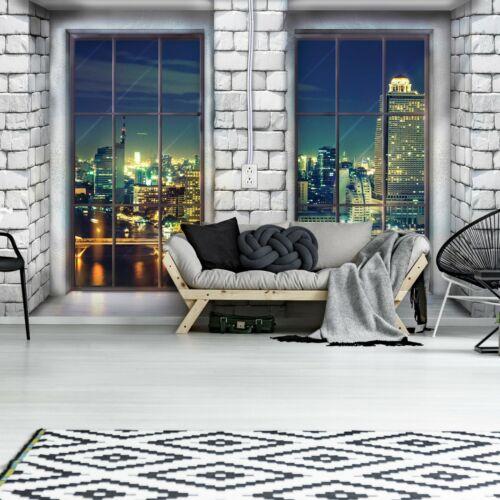 Vlies Fototapete 3D New York Stadt Tarrasse Fenster Ausblick Wohnzimmer Tapete 7