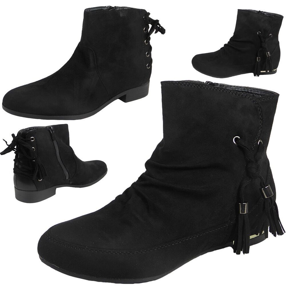 Womens Ladies Lace Up Suede Low Cuban Heel Ankle Casual Chelsea Boots Shoes Size