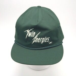 Twin-Energies-Inc-green-Ball-cap-hat-Zip-Strapback-Braid-Trim-by-Otto-Cap