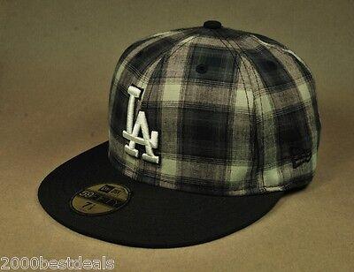 New Era 59Fifty Hat MLB Los Angeles Dodgers Subfresh Black White Plaid Mens Cap