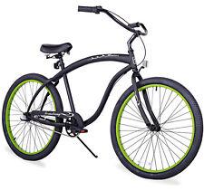 """26"""" Beach Cruiser Bicycle Firmstrong Bruiser Men3 spd matt black w green rims"""