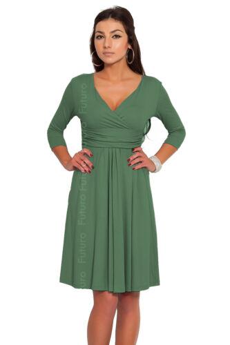 Classic /& Elegant Women/'s Dress V-Neck Cocktail Jersey Office Size 8-16 4400