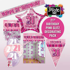 21st-BIRTHDAY-PINK-PARTY-SUPPLIES-DECORATING-PACK-BALLOONS-BANNERS-amp-CONFETTI