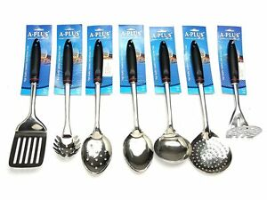 '7-Pc-Kitchen-Cooking-Utensil-Set-Serving-Tools-Spatula-Spoon-Stainless-Steel' from the web at 'https://i.ebayimg.com/images/g/ALIAAOSwKtlWqq2a/s-l300.jpg'