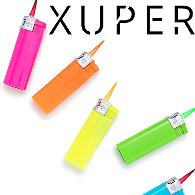 Transparent Pack of 5 Assorted Xuper Torch Single Jet Flame Windproof Pocket Torch Lighter with Adjustable Flame and Safety Lock