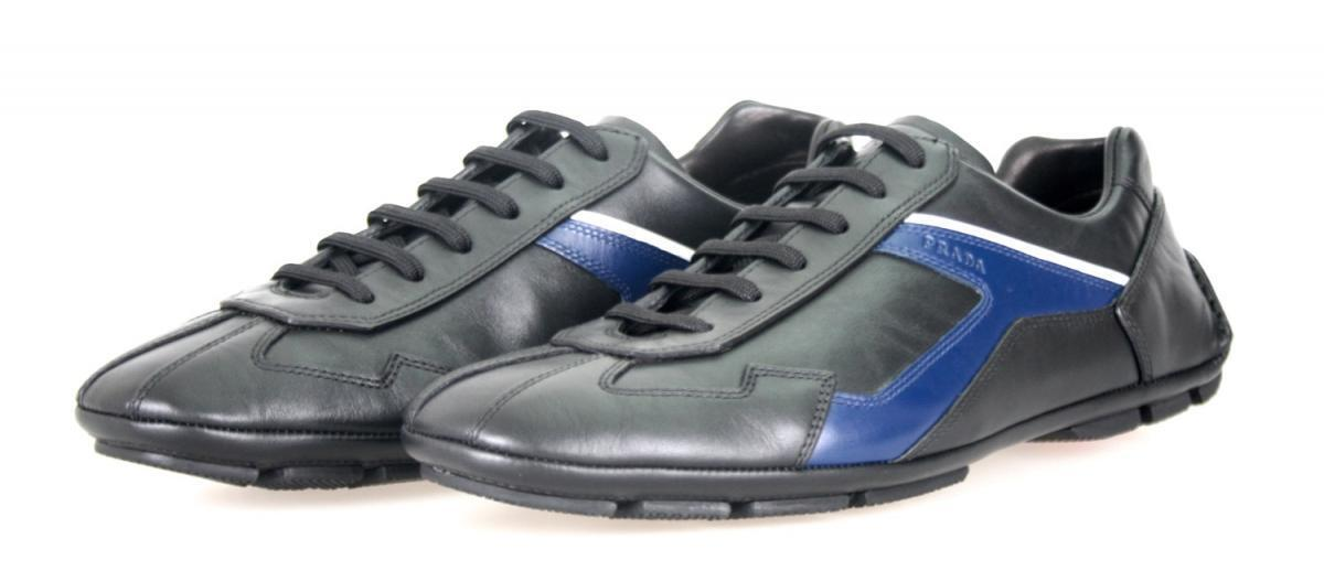 AUTHENTIC LUXURY PRADA SNEAKERS SHOES 4E2791 BLACK blueE NEW 6 40 40,5