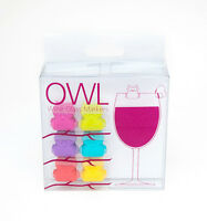 Silicone Owl Wine Glass Markers Dinner Celebration Bar Party Tasting Set Of 2