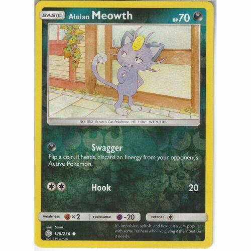 128//236 Alolan MeowthCommon Reverse Holo Card SM12 Cosmic Eclipse Pokemon TCG