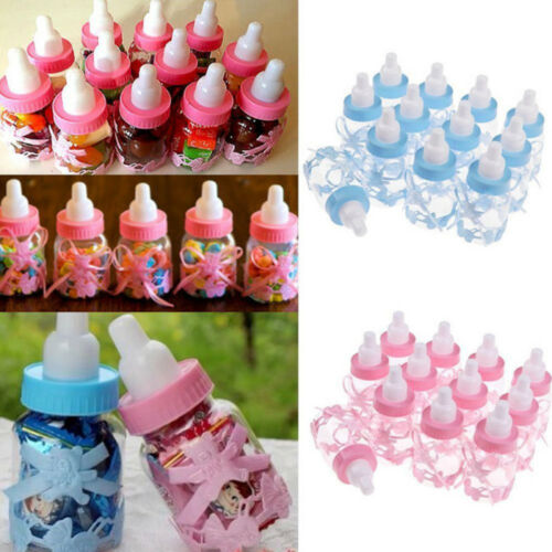 NEW 24 Fillable Bottles For Baby Girl Boy Shower Favors Blue Pink Party Decor