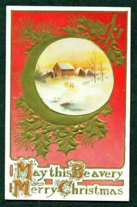 CHRISTMAS-EMB-POSTCARD-RED-AND-GOLD-WITH-HOUSES-1909