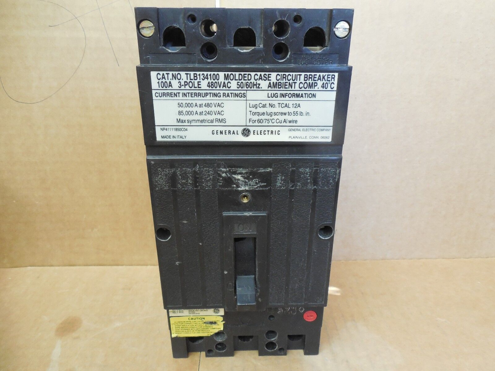 General Electric Ge Tlb134100 100 Amp 480 Vac 3 P Circuit Breaker Ebay Industrial Thql1120afp2 Arc Fault At