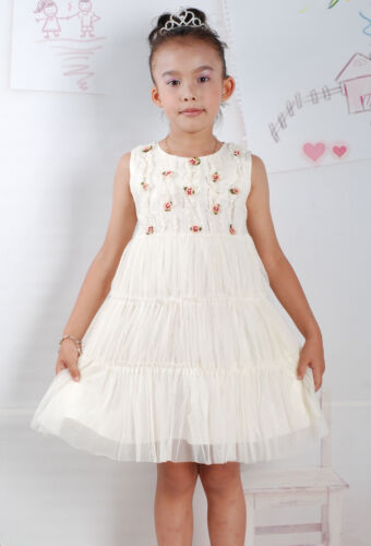 New Summer Girls Flower Party Dress in Cream Pink From 2-3 3-4 4-5 Years